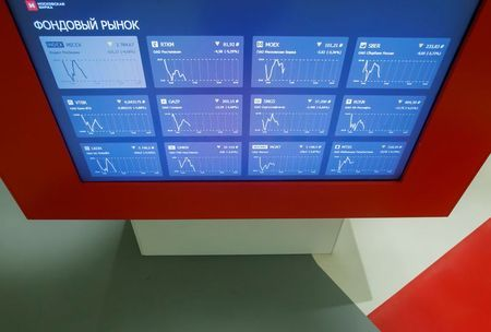 An information screen is seen inside the office of the Moscow Exchange in Moscow, Russia February 28, 2020. REUTERS/Maxim Shemetov