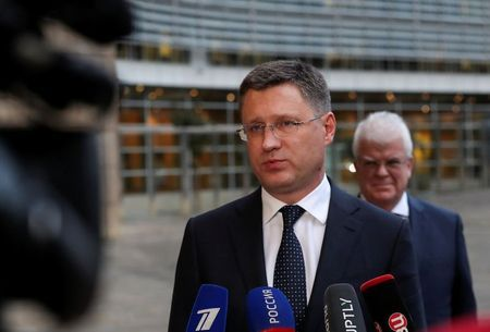 Russian Energy Minister Alexander Novak speaks with the media outside the EU Commission headquarters in Brussels, Belgium October 28, 2019. REUTERS/Yves Herman