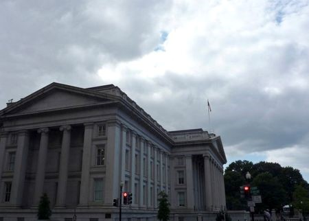 FILE PHOTO: The U.S. Treasury building is seen in Washington, September 29, 2008. REUTERS/Jim Bourg/File Photo