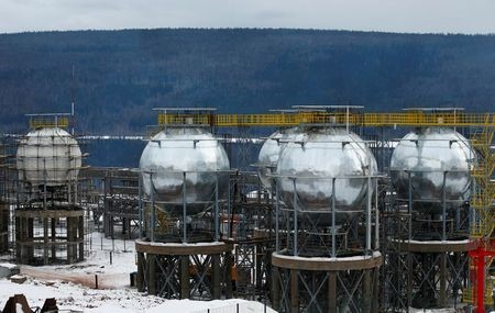 A general view shows tanks for liquefied petroleum gases (LPG) at a facility, owned by Irkutsk Oil Company (INK), in Irkutsk Region, Russia March 9, 2019. Picture taken March 9, 2019. REUTERS/Vasily Fedosenko