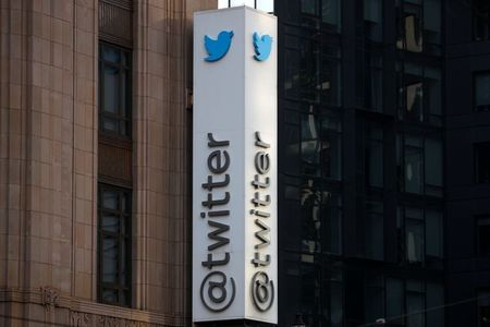 A Twitter logo is seen outside the company headquarters, during a purported demonstration by supporters of U.S. President Donald Trump to protest the social media company's permanent suspension of the President's Twitter account, in San Francisco, California, U.S., January 11, 2021. REUTERS/Stephen Lam
