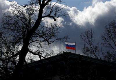 The national flag flutters on top of the Russian embassy in Prague, Czech Republic, February 27,2020. REUTERS/David W Cerny