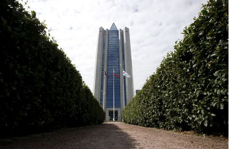 A general view shows the headquarters of Gazprom company in Moscow, Russia, June 26, 2015. Russia's top natural gas producer, Gazprom, may take part in liquefied natural gas projects in Iran once sanctions against Tehran are lifted, Gazprom's deputy Chief Executive Officer Alexander Medvedev said on Friday. REUTERS/Sergei Karpukhin