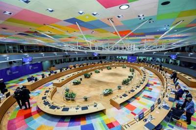 European Union leaders attend a round table meeting on the second day of a face-to-face EU summit in Brussels, Belgium May 25, 2021. Olivier Matthys/Pool via REUTERS