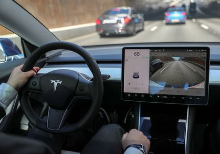 The interior of a Tesla Model 3 electric vehicle is shown in this picture illustration taken in Moscow, Russia July 23, 2020. Picture taken July 23, 2020. REUTERS/Evgenia Novozhenina
