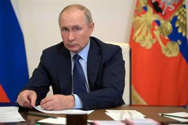 Russian President Vladimir Putin attends a meeting with members of the government via a video link at the Novo-Ogaryovo state residence outside Moscow, Russia October 5, 2021. Sputnik/Alexei Druzhinin/Kremlin via REUTERS ATTENTION EDITORS - THIS IMAGE WAS PROVIDED BY A THIRD PARTY.