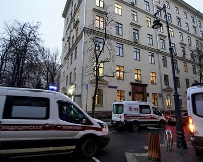 Ambulances are seen near the City Polyclinic Number 3, where Russia's