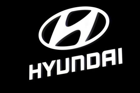 The Hyundai booth displays the company logo at the North American International Auto Show in Detroit, Michigan, U.S. January 16, 2018. REUTERS/Jonathan Ernst