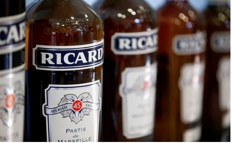 Bottles of Ricard's aniseed-flavoured beverage are pictured at the Ricard manufacturing unit in Lormont, near Bordeaux, France February 15, 2019. REUTERS/Regis Duvignau