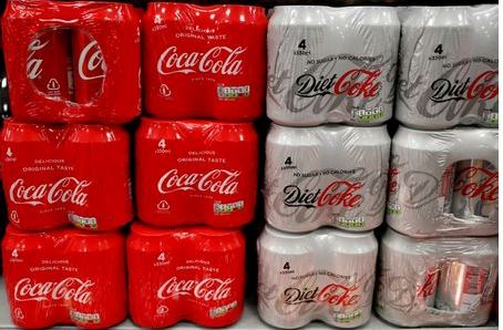 Multi can packs of Coca Cola and Diet Coke are seen for sale in a motorway services shop, Reading, Britain, January 25, 2019. REUTERS/Peter Cziborra/File Photo
