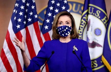 U.S. House Speaker Nancy Pelosi speaks about the need for additional coronavirus relief during her weekly news conference with Capitol Hill reporters in Washington, U.S., October 22, 2020. REUTERS/Hannah McKay/
