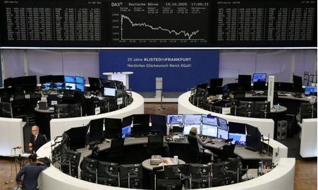 The German share price index DAX graph is pictured at the stock exchange in Frankfurt, Germany, October 19, 2020. REUTERS/Staff