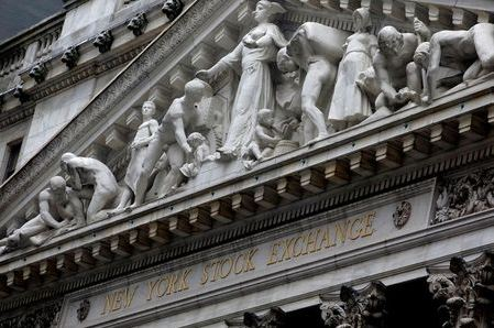 The facade of the New York Stock Exchange is pictured in Manhattan in New York City, New York, U.S., October 26, 2020. REUTERS/Mike Segar