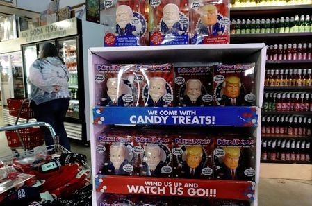 Political Poopers' toys depicting U.S. President Donald Trump and Democratic presidential candidate Joe Biden are seen inside Minnesotа's Largest Candy Store in Jordan, Minnesota, U.S., October 24, 2020. Picture taken October 24, 2020. REUTERS/Bing Guan
