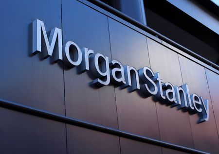 The corporate logo of financial firm Morgan Stanley is pictured on a building in San Diego, California September 24, 2013. REUTERS/Mike Blake (UNITED STATES - Tags: BUSINESS LOGO)