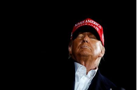 U.S. President Donald Trump holds a campaign rally at Des Moines International Airport in Des Moines, Iowa, U.S., October 14, 2020. REUTERS/Carlos Barria/File Photo