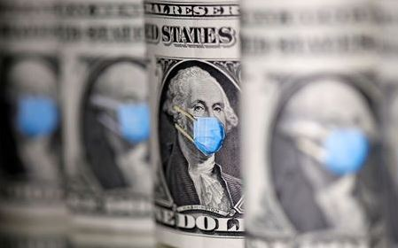 George Washington is seen with printed medical mask on the one Dollar banknotes in this illustration taken, March 31, 2020. REUTERS/Dado Ruvic/Illustration/File Photo