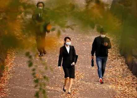 Passersby wearing protective face masks walk under autumn coloured leaves, amid the coronavirus disease (COVID-19) outbreak, in Tokyo, Japan November 19, 2020. REUTERS/Issei Kato
