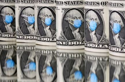 FILE PHOTO: George Washington is seen with printed medical mask on the one Dollar banknotes in this illustration taken, March 31, 2020. REUTERS/Dado Ruvic/Illustration
