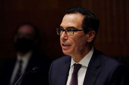Steven T. Mnuchin, Secretary, Department of the Treasury during the Senate's Committee on Banking, Housing, and Urban Affairs hearing examining the quarterly CARES Act report to Congress, in Washington, DC, U.S., September 24, 2020. Toni L. Sandys/Pool via REUTERS