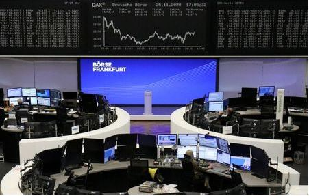 The German share price index DAX graph is pictured at the stock exchange in Frankfurt, Germany, November 25, 2020. REUTERS/Staff