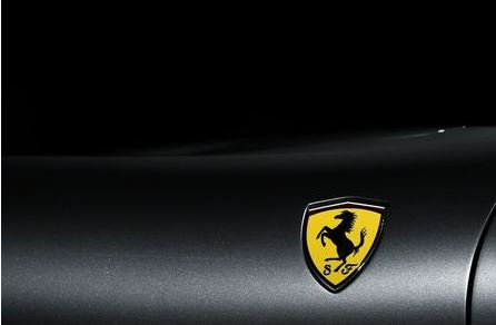 The Ferrari logo is pictured as Ferrari Roma is unveiled during its first world presentation in Rome, Italy, November 14, 2019. REUTERS/Guglielmo Mangiapane