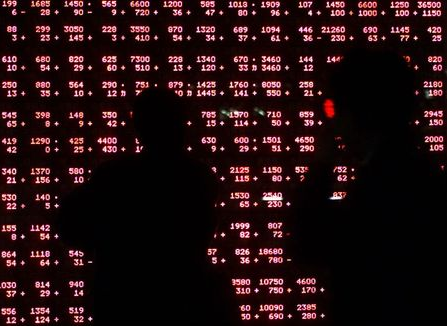 Passers-by are silhouetted against a stock quotation board as they look at share prices outside a Tokyo securites brokerage March 21, 2001. Tokyo's Nikkei average jumped more than seven percent on Wednesday, its biggest one-day gain in nine years. The Nikkei average surged 912.97 points to 13,103.94. TA/DL