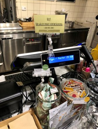 A sign informing that cash payments are not accepted is seen at a cafe in Stockholm, Sweden, December 18, 2019. REUTERS/Colm Fulton