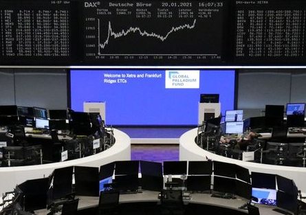 The German share price index DAX graph is pictured at the stock exchange in Frankfurt, Germany, January 20, 2021. REUTERS/Staff