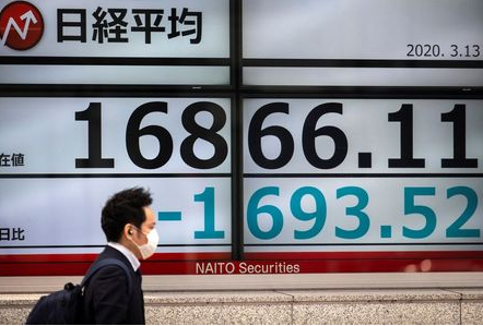 A man wearing a protective face mask, following an outbreak of the coronavirus (COVID-19), walks past a screen showing the Nikkei index outside a brokerage in Tokyo, Japan, March 13, 2020. REUTERS/Athit Perawongmetha