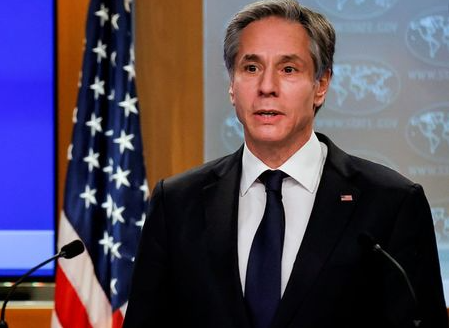 Newly confirmed U.S. Secretary of State Antony Blinken addresses reporters during his first press briefing at the State Department in Washington, U.S., January 27, 2021. REUTERS/Carlos Barria/Pool