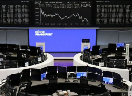 The German share price index DAX graph is pictured at the stock exchange in Frankfurt, Germany, February 25, 2021. REUTERS/Staff