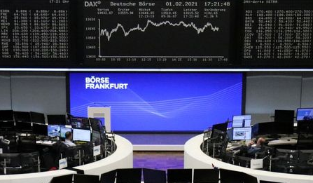 The German share price index DAX graph is pictured at the stock exchange in Frankfurt, Germany, February 1, 2021. REUTERS/Staff