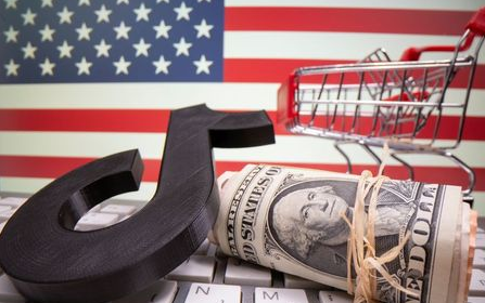 A 3D printed Tik Tok logo, dollar banknotes, shopping cart and keyboard are seen in front of U.S. flag in this illustration taken, October 6, 2020. Picture taken October 6, 2020. REUTERS/Dado Ruvic/Illustration