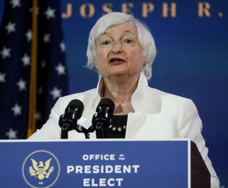 Janet Yellen, U.S. President-elect Joe Biden's nominee to be treasury secretary, speaks as Biden announces nominees and appointees to serve on his economic policy team at his transition headquarters in Wilmington, Delaware, U.S., December 1, 2020. REUTERS/Leah Millis