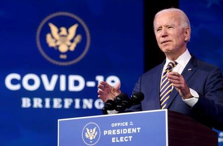 U.S. President-elect Joe Biden delivers remarks on the U.S. response to the coronavirus disease (COVID-19) outbreak, at his transition headquarters in Wilmington, Delaware, U.S., December 29, 2020. REUTERS/Jonathan Ernst