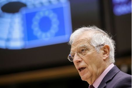 European High Representative of the Union for Foreign Affairs and Security Policy, Josep Borrell speaks at a debate folllowing his visit to Russia, during a plenary session of the European Parliament in Brussels, Belgium, February 9, 2021. Olivier Hoslet/Pool via REUTERS