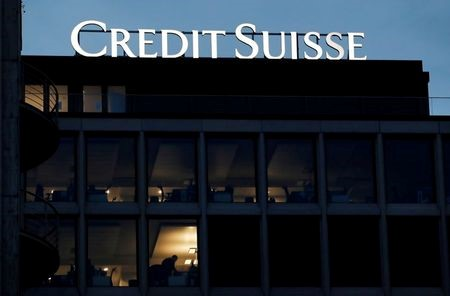 A logo of Credit Suisse is pictured on a building in Geneva, Switzerland, November 8, 2017. REUTERS/Denis Balibouse/File Photo
