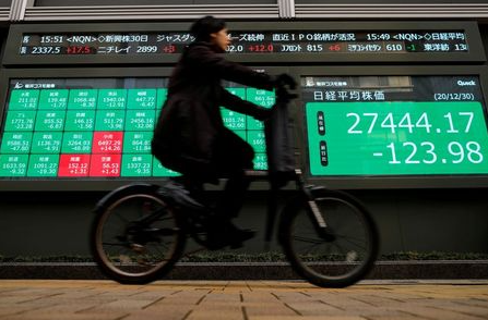 FILE PHOTO: A man rides a bicycle past a screen displaying Nikkei share average and stock indexes outside a brokerage, amid the coronavirus disease (COVID-19) outbreak, in Tokyo, Japan December 30, 2020. REUTERS/Issei Kato/File Photo