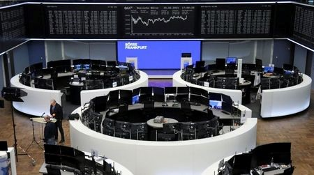 The German share price index DAX graph is pictured at the stock exchange in Frankfurt, Germany, February 15, 2021. REUTERS/Staff