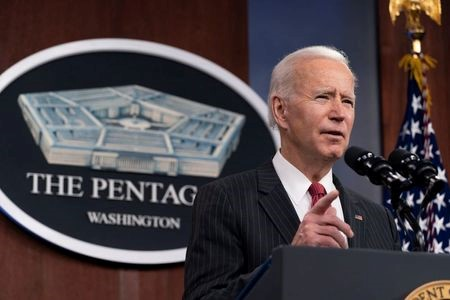 U.S. President Joe Biden speaks at the Pentagon in Arlington, Virginia, U.S., February 10, 2021. Alex Brandon/Pool via REUTERS