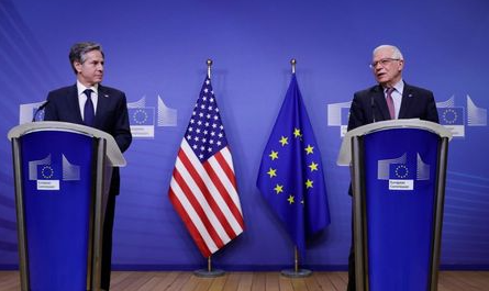 U.S. Secretary of State Antony Blinken and European Union foreign policy chief Josep Borrell hold a joint news conference in Brussels, Belgium, March 24, 2021. Olivier Hoslet/Pool via REUTERS