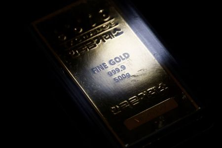 A gold bar is pictured on display at Korea Gold Exchange in Seoul, South Korea, August 6, 2020. REUTERS/Kim Hong-Ji