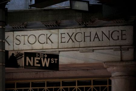 A sign is seen outside the 11 Wall St. entrance of the New York Stock Exchange (NYSE) in New York, U.S., March 1, 2021. REUTERS/Brendan McDermid
