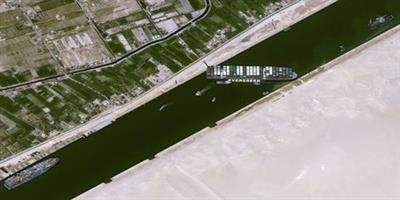 A satellite image shows stranded container ship Ever Given ran around in Suez Canal, Egypt March 25, 2021. CNES/AIRBUS DS via REUTERS ATTENTION EDITORS THIS IMAGE HAS BEEN SUPPLIED BY A THIRD PARTY. NO RESALES. NO ARCHIVES. MANDATORY CREDIT.