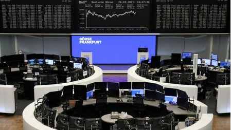 The German share price index DAX graph is pictured at the stock exchange in Frankfurt, Germany, March 26, 2021. REUTERS/Staff