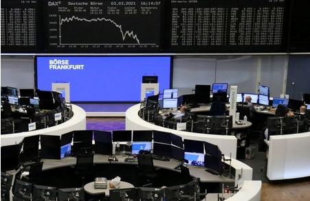 The German share price index DAX graph is pictured at the stock exchange in Frankfurt, Germany, March 3, 2021. REUTERS/Staff