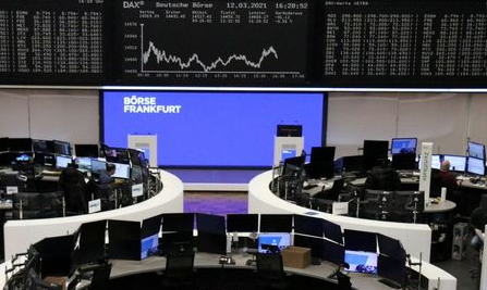 The German share price index DAX graph is pictured at the stock exchange in Frankfurt, Germany, March 12, 2021. REUTERS/Staff