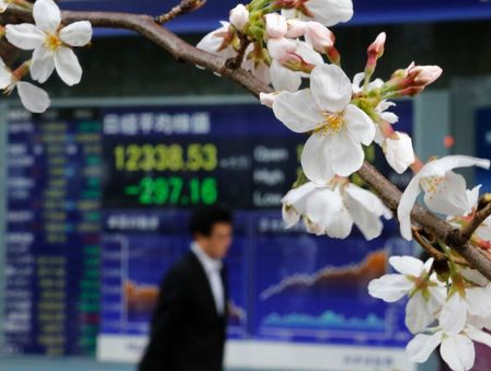 A man walks past an electronic screen displaying the Nikkei share average as cherry blossoms are in full bloom outside a brokerage in Tokyo March 22, 2013. Japan's Nikkei average shed 2.4 percent on Friday as concerns mounted that Cyprus may be forced to exit the euro zone after the European Union gave the island's government until Monday to raise the billions of euros it needs to secure a bailout. REUTERS/Toru Hanai (JAPAN - Tags: BUSINESS)