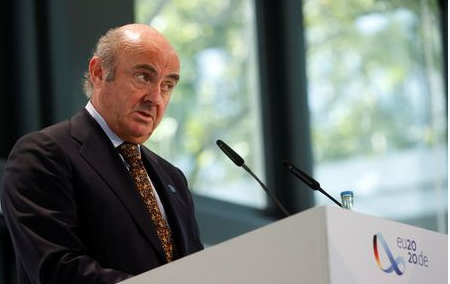 Vice-President of the European Central Bank (ECB) Luis de Guindos gives a statement during the second day of the Informal Meeting of EU Ministers for Economics and Financial Affairs in Berlin, Germany September 12, 2020. Odd Andersen/Pool via REUTERS